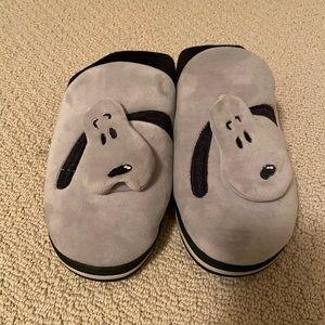 Gray Puppy Dog Slippers